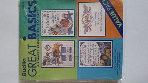Bucilla Great Basics 4 Stamped Cross Stitch Samplers - His and Hers, This Kitchen Is Seasoned with Love, All Things Bright and Beautiful..., Born This Day...