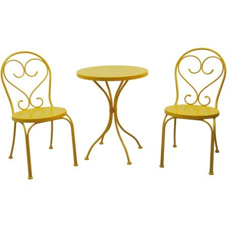 Small Space Scroll 3 Piece Chairs & Table Outdoor Furniture Bistro Set, Yellow, Seats 2