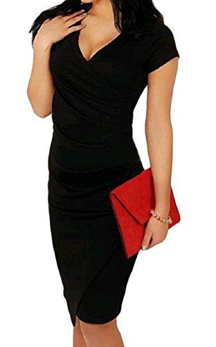 Coolred-femmes Ruché V-cou Taille Plus Partie Pure Carrière De Couleur Robe De Soirée Noire