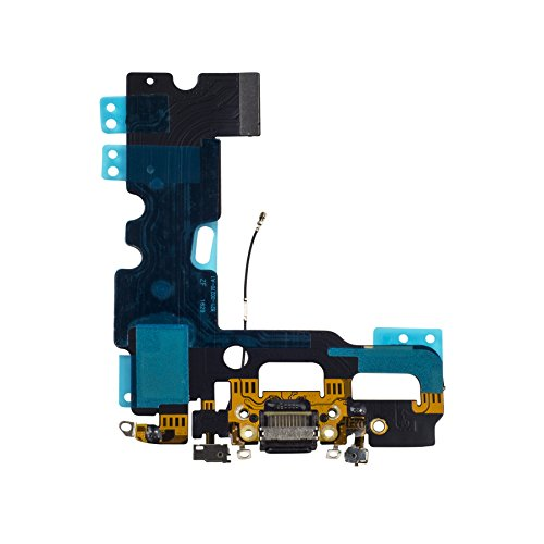 - Doer Charging Port USB Dock Flex Cable with Microphone and Signal Antenna Replacement for iPhone 7 4.7'' (Black)