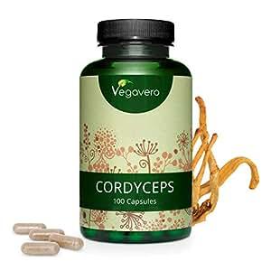 Cordyceps Vegavero® 5000 mg | Testado en Laboratorio | Estandarizado a > 20% Polisacáridos (Betaglucanos) | 100 Cápsulas | Sistema Inmunitario + Resistencia + Energía | Sin Aditivos