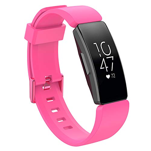 Haluoo Bands Compatible with Fitbit Inspire HR & Inspire Small Large, Soft Silicone Sport Replacement Band Breathable Strap Wristband for Fitbit Inspire HR & Inspire for M (Small, Pink)
