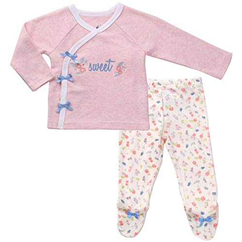 Asher and Olivia Infant Clothes Footed Pants Long Sleeve Kimono Shirt Baby Girl Layette 0-3 Month Heather Pink Cotton Kimono Layette Set