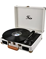 Vinyl Stereo Turntable Portable Suitcase with Built in 2 Speakers RCA Line Out Headphone Jack PC Recorder Mobile Phones Music Playback Support Computer Recording