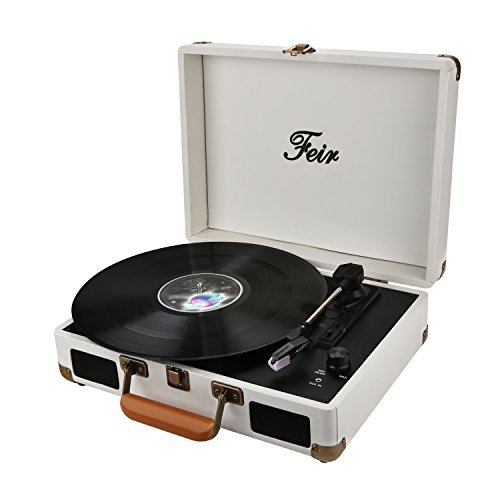 Vinyl Stereo Turntable Portable Suitcase with Built in 2 Spe