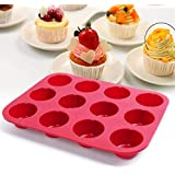 12 Cups of nonstick Silicone Muffin/Cupcake Mold pan, Great for Making Muffins, Cupcakes, Veggies Cakes, and More, FDA Approv
