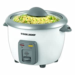 Black + Decker RC3406 3-Cup Dry/6-Cup Cooked Rice Cooker, White