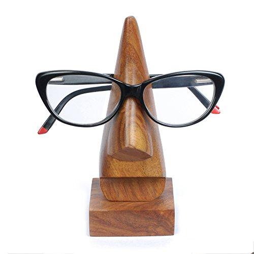 Rusticity Wood Eyeglass Holder Nose shaped - Square base | Handmade | (6.5x3 in)