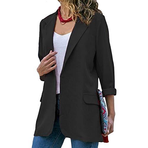 2019 Solid Color Turn-Down Collar Coat Lady Business Suit Cardigan Jacket Suit Femme Blazer Slim Thin,Black 2,L