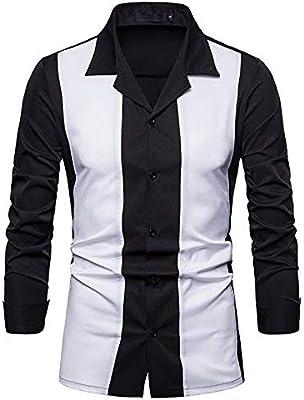 Camisa De Manga Larga Hombre,Camisa Blanca Moda Casual Hombres Camiseta De Manga Larga De Color De Contraste Hawaiano Camisa Casual Hip Hop Streetwear Cómodo De Llevar La Ropa De Los Hombres,Xl: Amazon.es: