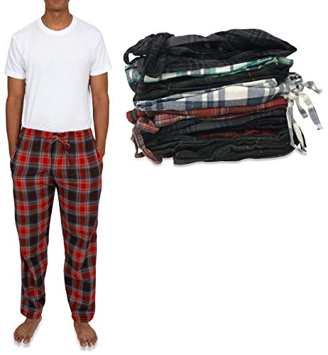 Andrew Scott Men's 4 Pack 100% Cotton Flannel Pajama Sleep Pant - Lounge Pants (4 Pack- Assorted Classic Plaids, Medium)