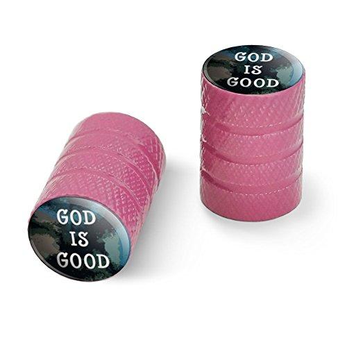 神は良いキリスト教の霊感的な宗教ですオートバイ自転車バイクタイヤリムホイールアルミバルブステムキャップ - ピンク