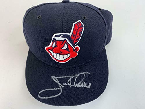 Jim Thome Signed Cleveland Indians New Era MLB Fitted Baseball Hat COA - JSA Certified - Autographed MLB Hats ()