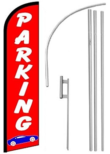 Windless, Swooper, Feather, Banner Flag PARKING, Pole & G...