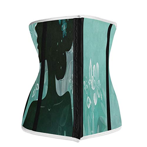 Waist Trainer for Women,Turquoise And Gold Women Underbust Corset Slimming Body Shaper Belt/Cincher/Trimmer Weight Loss XL