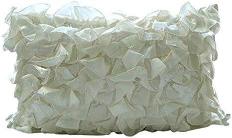 Amazon Com The Homecentric Ivory Lumbar Pillow Cover Vintage Ruffles Shabby Chic Lumbar Pillow Cover 12x20 Inch 30x50 Cm Lumbar Pillow Cover Solid Victorian Pillow Cover Satin Vintage Glam Ruffles Home
