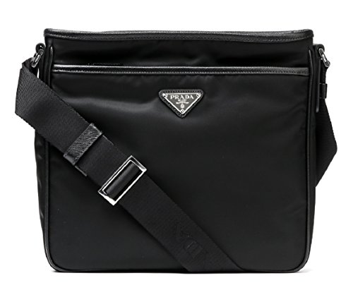 Wiberlux Prada Men's Inverted Triangle Logo Zip-Top Crossbody Bag One Size Black