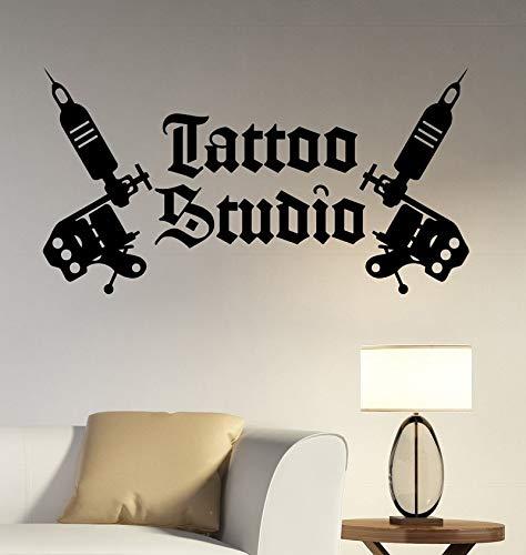 Tattoo Studio Logo Wall Decal Tattoo Machines Vinyl Decal Window Art Decorations Tattoo Salon Room Decor tast 57x30cm