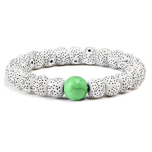 (Zozu Classic Crackle Wood Beads Natural Stone Bracelet Men Women Prayer Buddha Meditation Beaded Bracelets Bangles Charm Yoga Jewelry (Green))