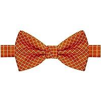 Gravata borboleta laranja com listras brancas