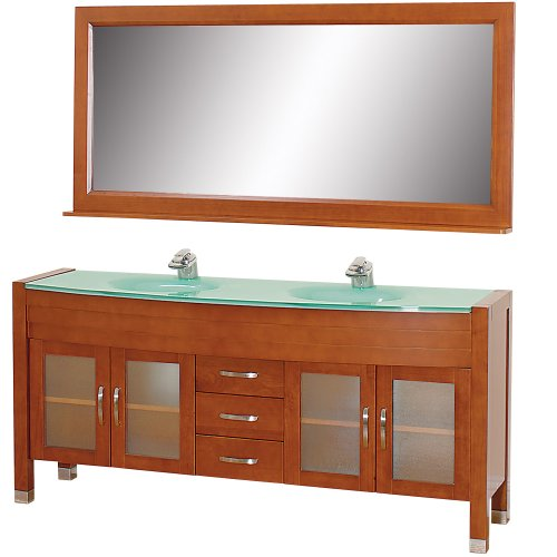 Wyndham Cherry (Wyndham Collection Daytona 71 inch Double Bathroom Vanity in Cherry with Green Glass Top with Green Integral Sinks)