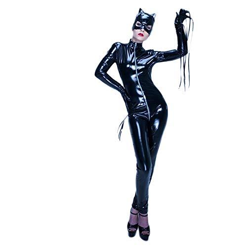 Mujer Cuero Catsuit Manga Larga Apariencia de latex Mono Catwoman Disfraz Fiesta Traje Ajustado Negro (Black,M)