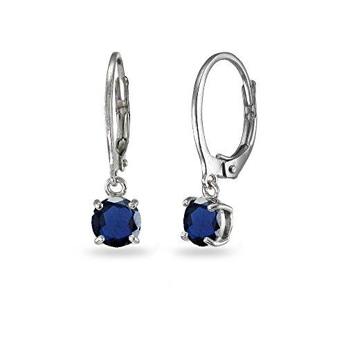 LOVVE Sterling Silver Created Blue Sapphire 6mm Round Dangle Leverback Earrings