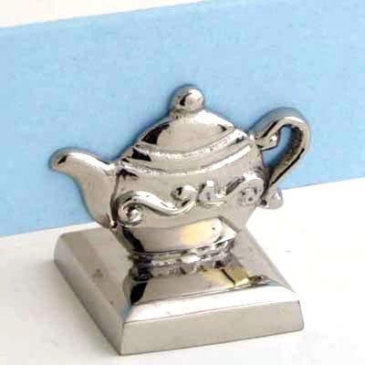 Nickel Teapot Place Card Holder, Menu Stand - Set of 6
