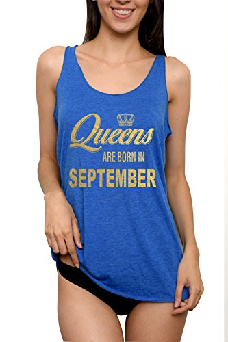 Emdem Apparel Queens are Born in September Birthday Womens Tank Top Blue Med