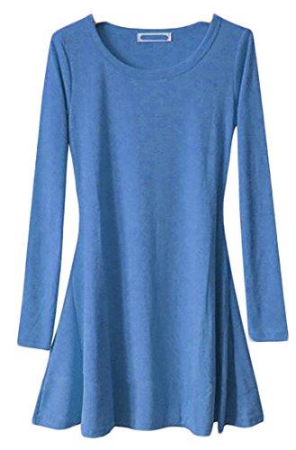 Denim Casual Dress Crewneck Blue Cromoncent T Pleated Sleeve Long Shirts Womens Solid FvqqxHS5