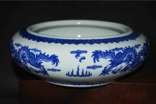 (Chinese Blue and White Porcelain Bowl china dragon painting statue old antique qing dynasty qianlong period vase brush washer)