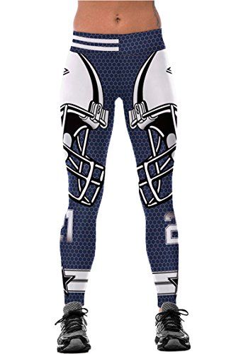 COCOLEGGINGS Girls Digital Print Elastic Waist Workout Leggings Navy Blue L