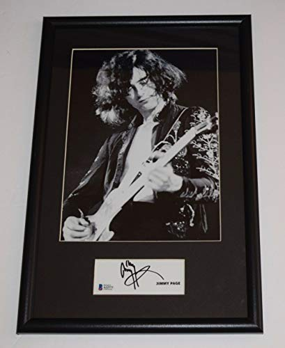 Page Autograph - Jimmy Page Signed Autograph Framed 11x17 Photo Display LED ZEPPELIN Beckett COA