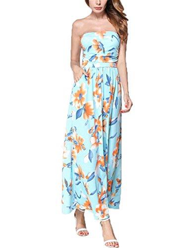 Ygosoon Women Summer Dress 2018 Strapless Off Shoulder Long Maxi Dress Sundress Women Summer Tunic Beach Dress Robe Femme Blue S