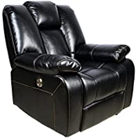 Electric Recliner Chairs With Faux Leather,Adjustable Headrest,USB Port,BLACK
