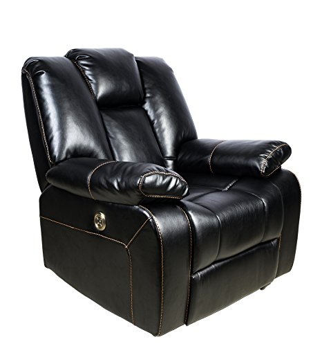 FrHome Electric Luxurious Recliner Chair With USB Port, Cozy Breathable Air Leather Living Room Sofa Chair With Adjustable Headrest, Black