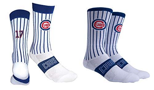 PKWY by Stance Men's 2-Pack Chicago Cubs Team & Kris Bryant #17 Player Uniform Socks (X-Large)