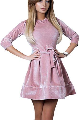 Monocolor Belted De Vintage Mujeres 50 Pink De 40 Vestido Mini Terciopelo zROqOUW