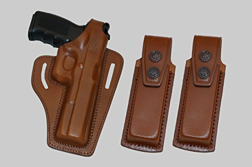 - ALIS343202 Leather Pancake Holster Thumb Break RH & 2 single mag pouches Fits Colt Ruger Taurus 1911 Handmade!