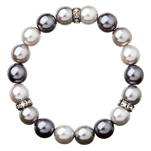 Pearl Bracelet with Swarovski Elements Crystals and Simulated Pearl Beads - Grey