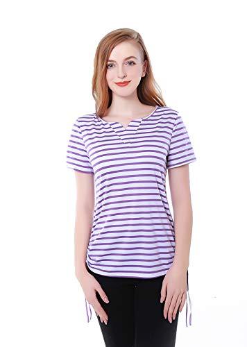 (MANYI Women's Striped Shirt Women's V-Neck Short Sleeve T-Shirt Drawstring Side Striped Shirt Purple)