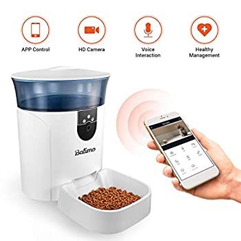 Image of Balimo Smart Pet Feeder with Personalized Portions for Cats and Dogs, HD Video Camera, 2-Way Voice Interaction, Battery Backup, Easy Connection, App for iOS & Android, 7L/1.85USGAL Pet Supplies