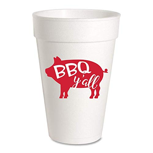 BBQ Y'all Summer Party Cups - Styrofoam 16oz 10 Pack
