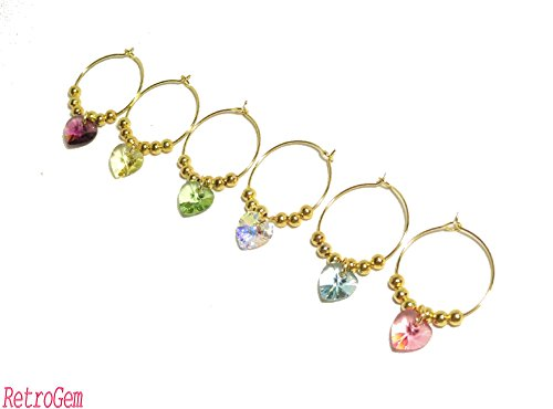 RetroGem Swarovski Elements Crystal Heart Wine Charms - Gold Tone Ring 25mm - Set Of Six ()