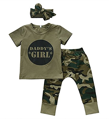 Pants Bib Shirt (Daddy's Baby Girls Baby Boys Camo Clothes 3 Sets Infant/Toddler Camouflage Outfits T-Shirt Tops+Pants+Headband/Bibs)