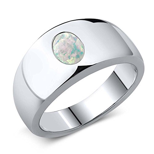 1.05 Ct Oval White Simulated Opal 925 Sterling Silver Men's Ring Sizes 7 to 13