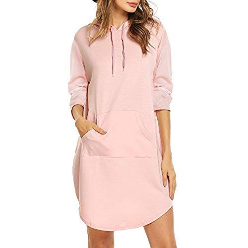 - Spring Autumn Woman V Neck Casual Medium Long Term Arc Hem Hoodies (Pink, XL)