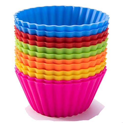 Large Cupcake Liners (Jumbo Silicone Baking Cups, SAWNZC Reusable Cupcake Liners Large 3.54 inch Muffin Cups Non-stick Muffin Liners Cake Molds, 12 Packs in 6 Rainbow)