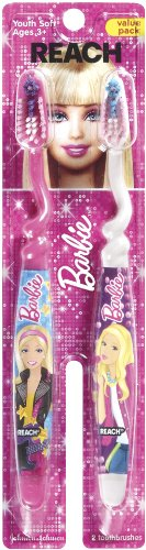 (Reach Kids Toothbrushes Barbie Soft, 2 ct)