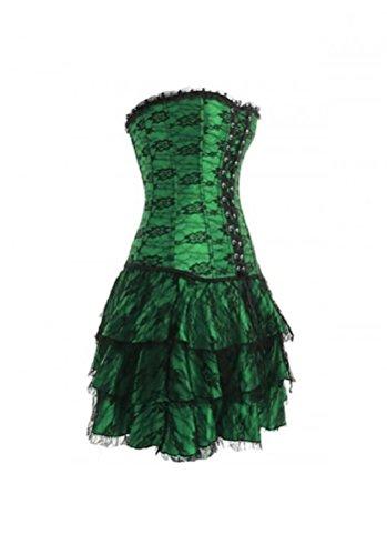 危険な美容師おめでとうGreen Satin Black Net Goth Burlesque Moulin Rouge Costume Overbust Corset Dress
